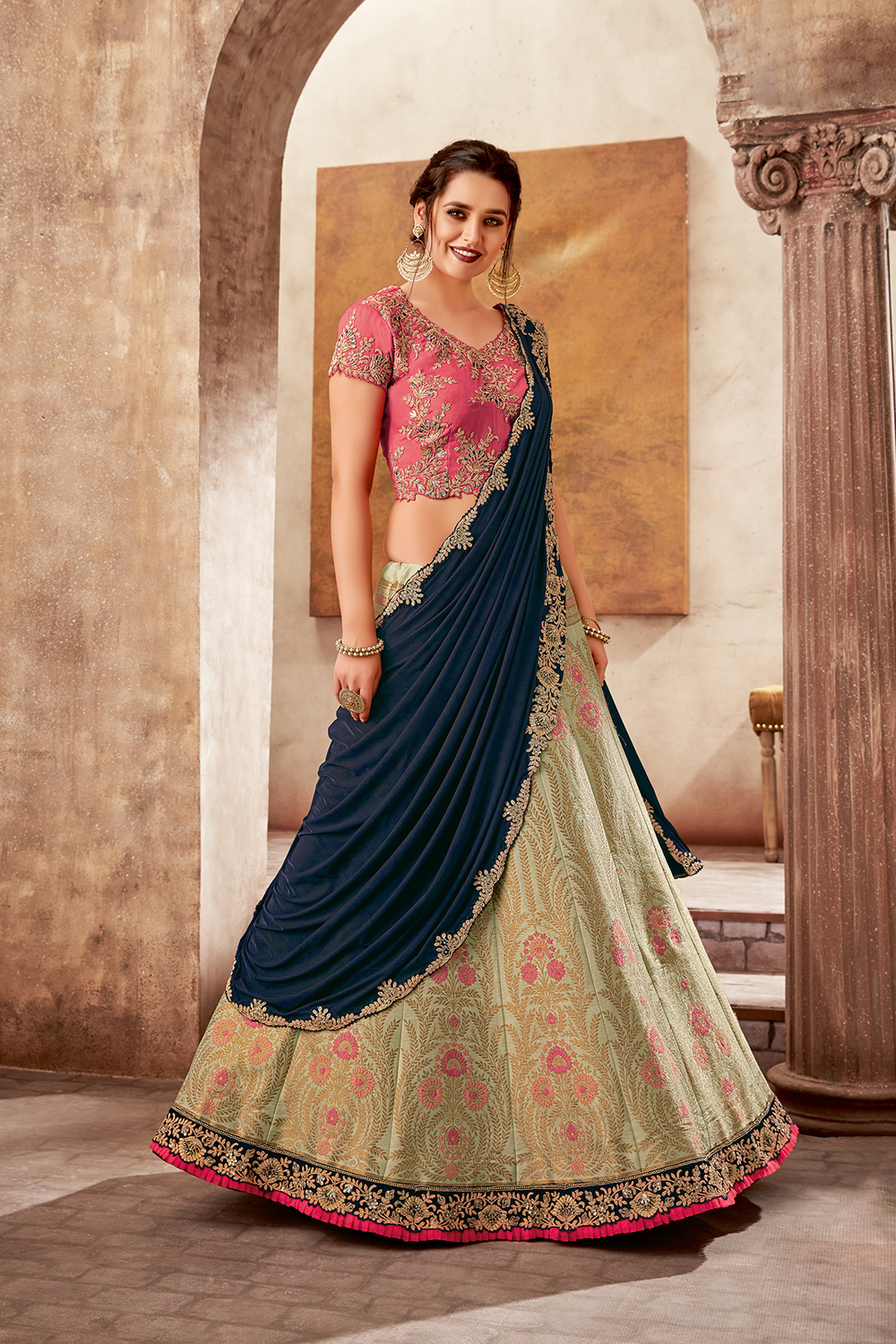 Embroidered Blue And Cream Party Wear Lehenga Saree