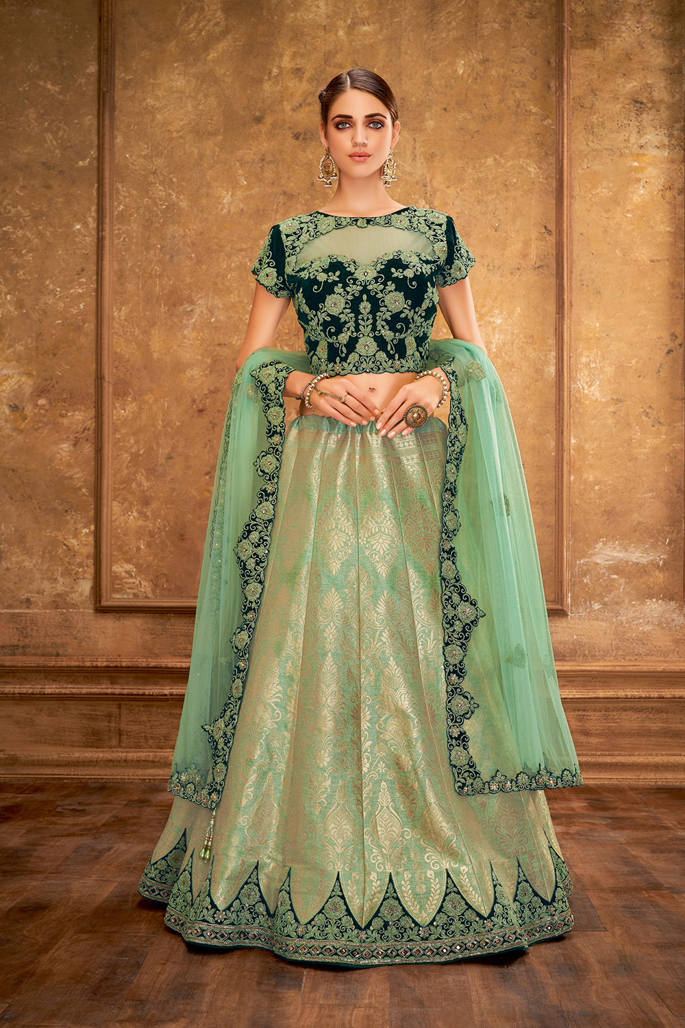 Banarasi Silk Party Wear Lehenga In Gold   C-Green Color With Embroidery Work