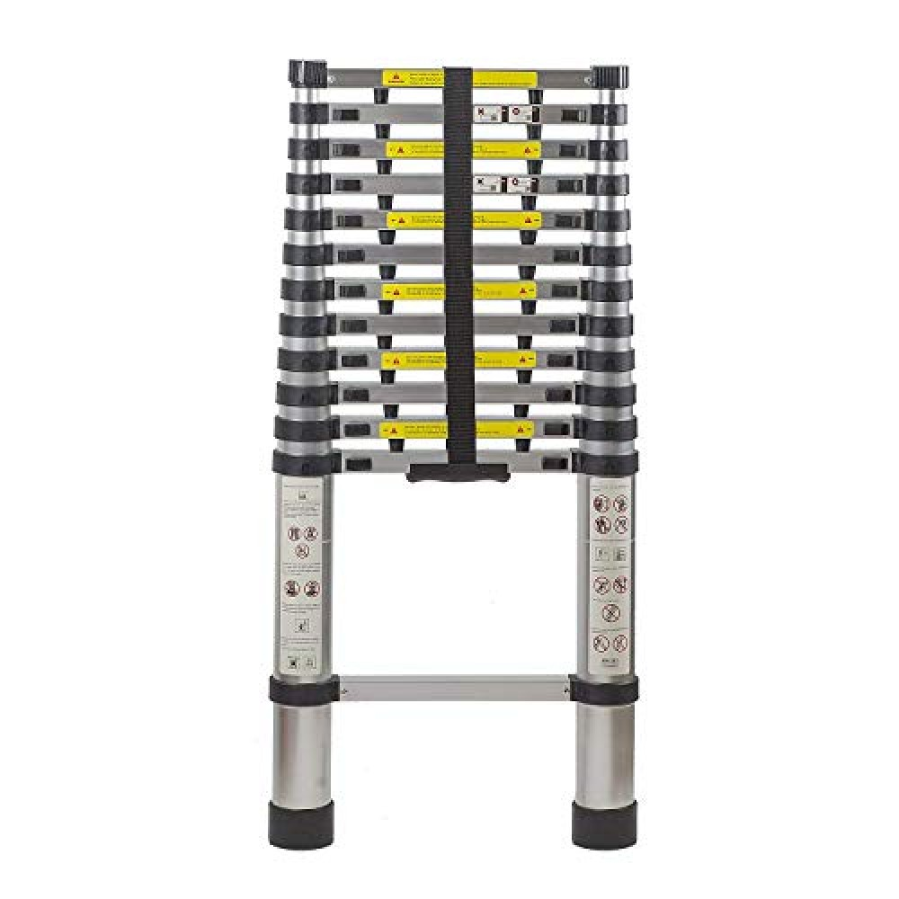 2 6 M   8 5 FT   Portable Heavy Duty Collapsible 9 Steps Telescopic Foldable Aluminium Multipurpose Step Ladder EN131 Certified Finger Protection Spacers Household Outdoor Purpose