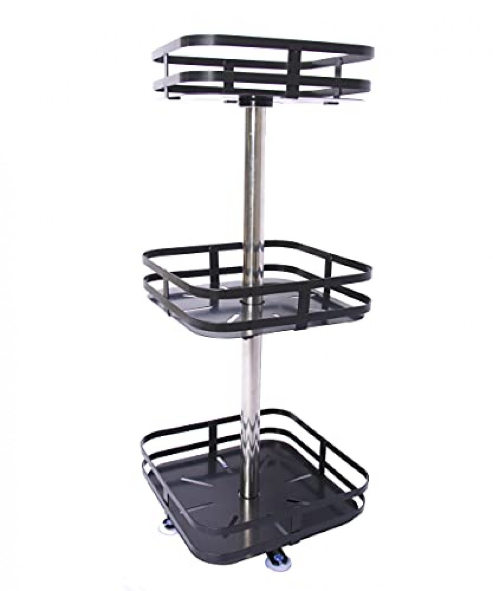 1 Pc 3 layer Square Design 360   Rotating Lazy Susan  Metal Kitchen Bathroom Countertop  Cabinet Organizer for Spices  Condiments  Snacks  pantry Makeup Dressing tables - Black