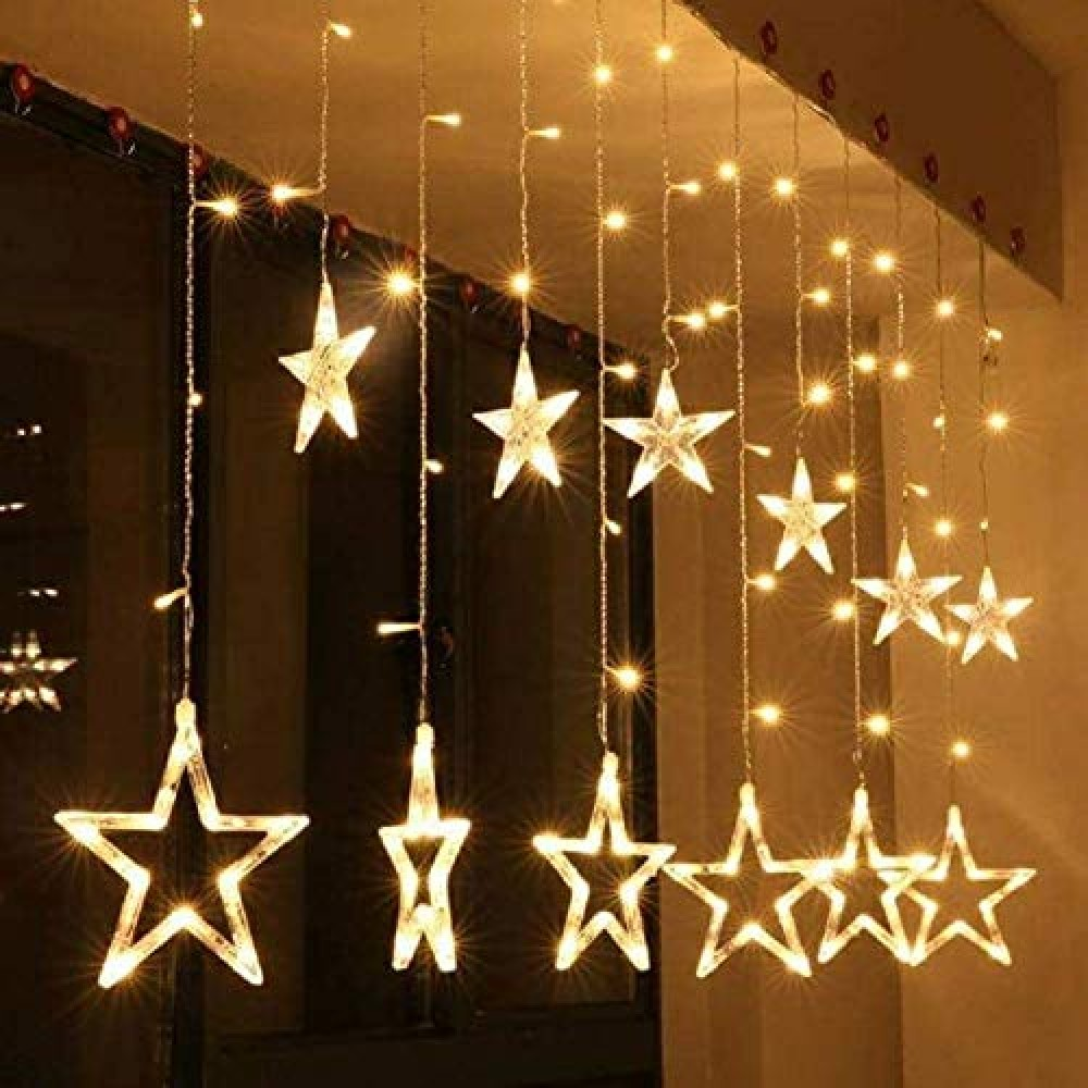 Star Curtain Light 6 Big Star 6 Small Star with 8 Flashing Modes for Decoration  12 Star  Warm White