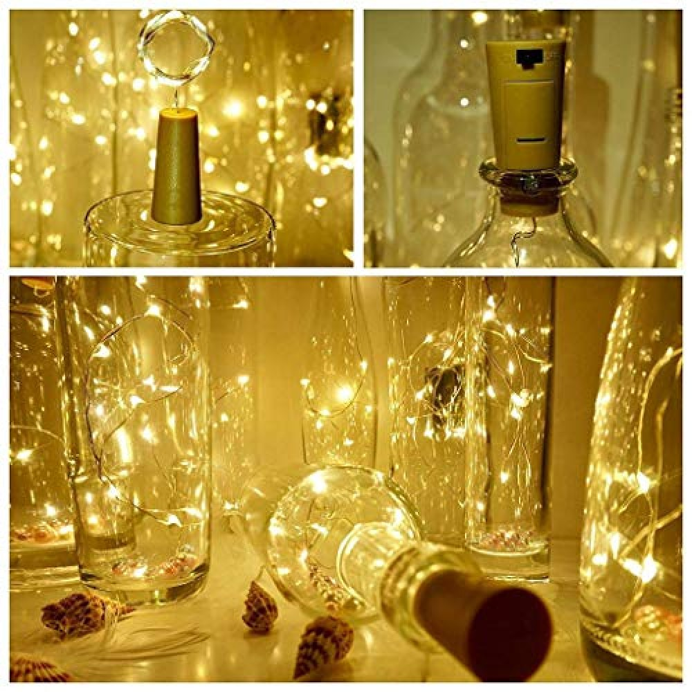 2 Meter 20 LEDs Wine Bottle Cork String Light Copper Wire Starry Fairy Lights Battery Powered  Battery Not Included   for Indoor  amp  Outdoor Decorations  Warm White  Pack of 1   Standard