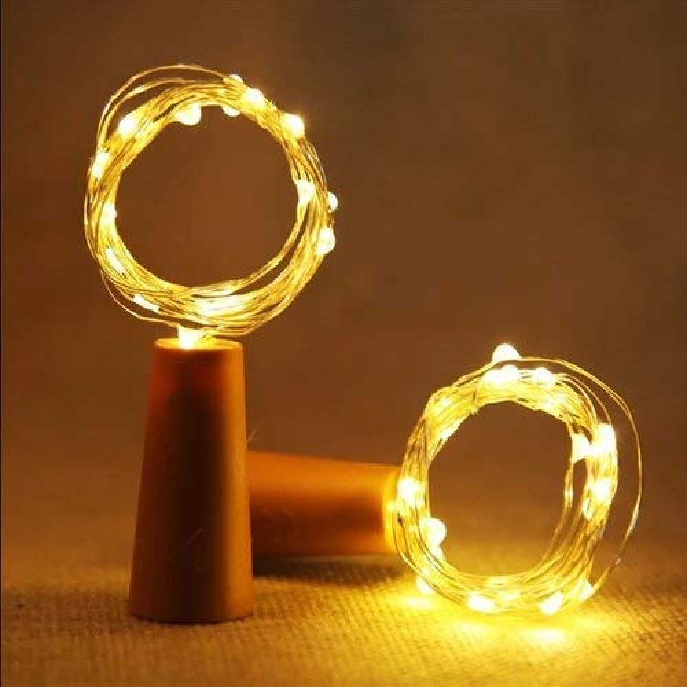 20 Led Wine Bottle Cork Copper Wire String Lights  2M 7 2Ft Battery Operated  Battery Not Included   for Indoor  amp  Outdoor Decorations  Warm White  Pack of 1