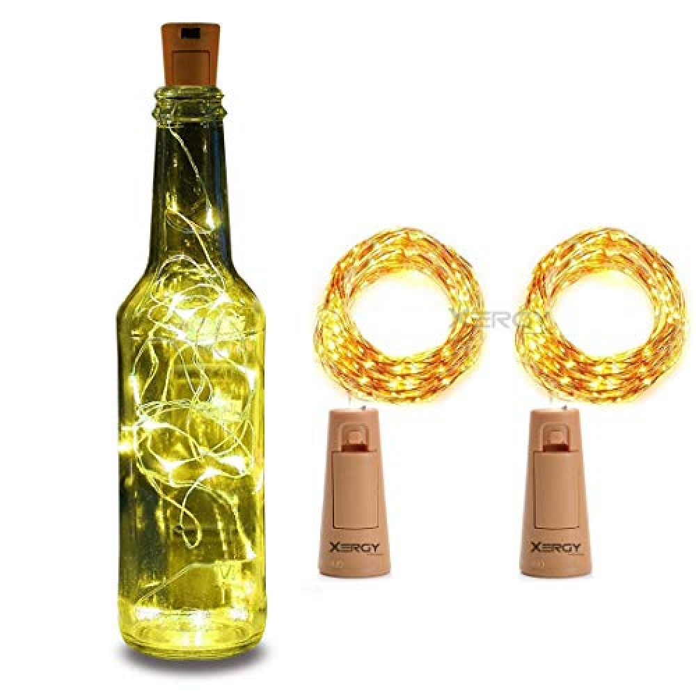 20 LED 2 Meter Wine Bottle Cork Lights Copper Wire String Lights - Battery Operated  Battery Not Included   for Indoor  amp  Outdoor Decorations  Warm White  Pack of 2   standard  Lex-20led 2MCork
