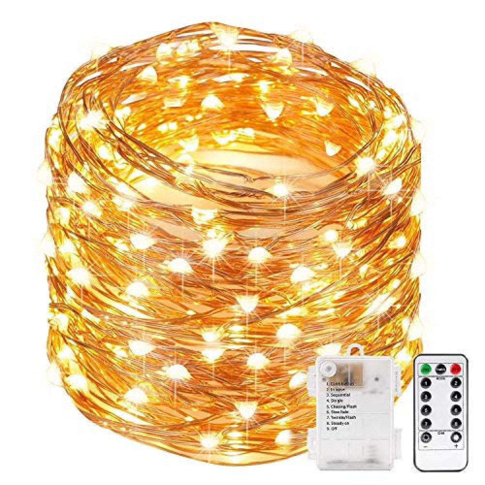 10 Meter 100 LED Copper String Led Light with 8 Modes Function Battery Powered  for Indoor  amp  Outdoor Decorations  Battery Not Included  Warm White  Pack of 1   Standard  Lex-10m Copper-Battery