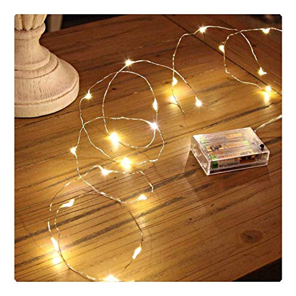 30 LEDs 3 Meter Waterproof Copper Wire String Fairy Lights Battery Powered  Battery Not Included  for Indoor  amp  Outdoor Decorations  Warm White  Pack of 1   Standard  Lex-30Led 3m