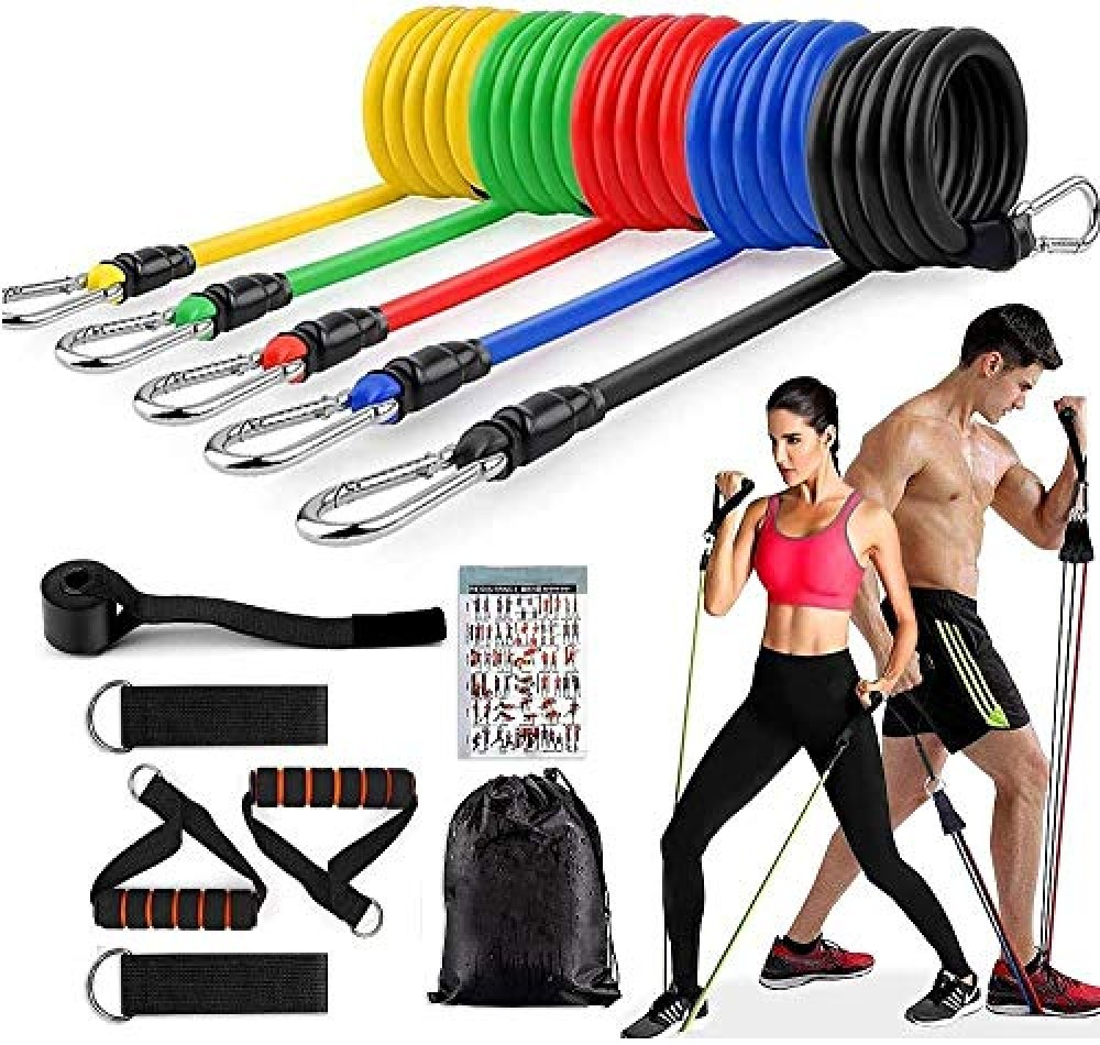 11 Piece Gym Power Resistance Band Set for Workout  Resistance Band for Exercise  Resistance Band for Pull ups  tricep  Legs  Rubber Resistance Band Tube with Door Anchor and Hook - Adjustable