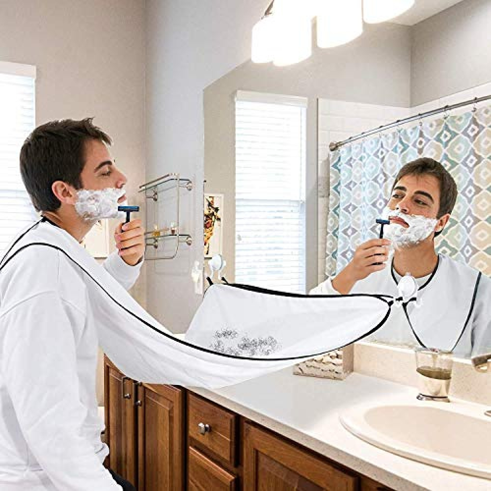Shaving Beard Bib Grooming Apron With 2 Suction Cups for Dad Father Boyfriend Brother Gift- No More Messy Sinks  White