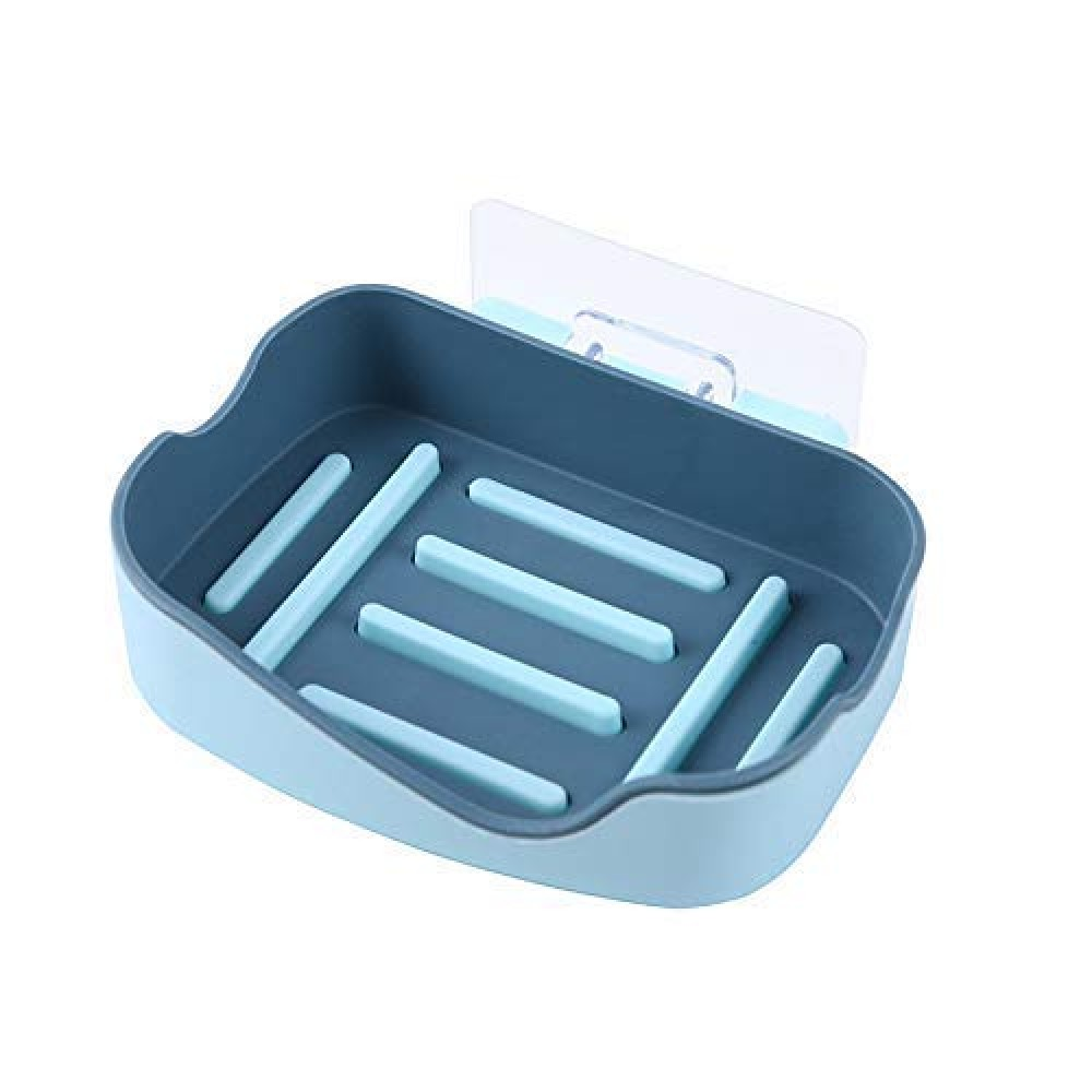 Wall Mounted Self-Adhesive Plastic Soap Dish  Holder  Tray  Box for Bathroom  1
