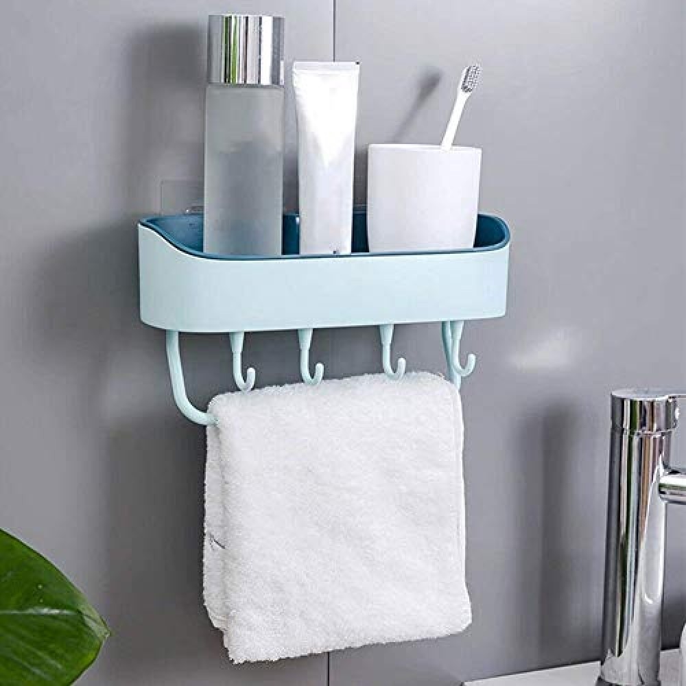 Multipurpose ABS Plastic Kitchen Bathroom Shelf Wall Storage Rack with Magic Sticker Towel Holder with 4 Hook  Multicolor   Pack-1