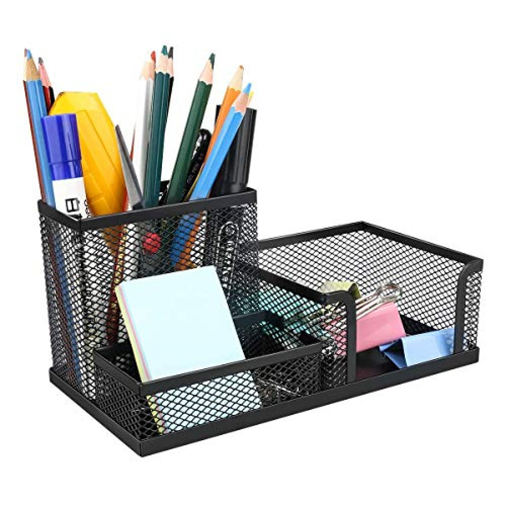 3 Compartment Metal Mesh Desk Organizer Stationary Storage Stand Pen  Pencil Holder for Office  Home  and Study Table  Pack-1
