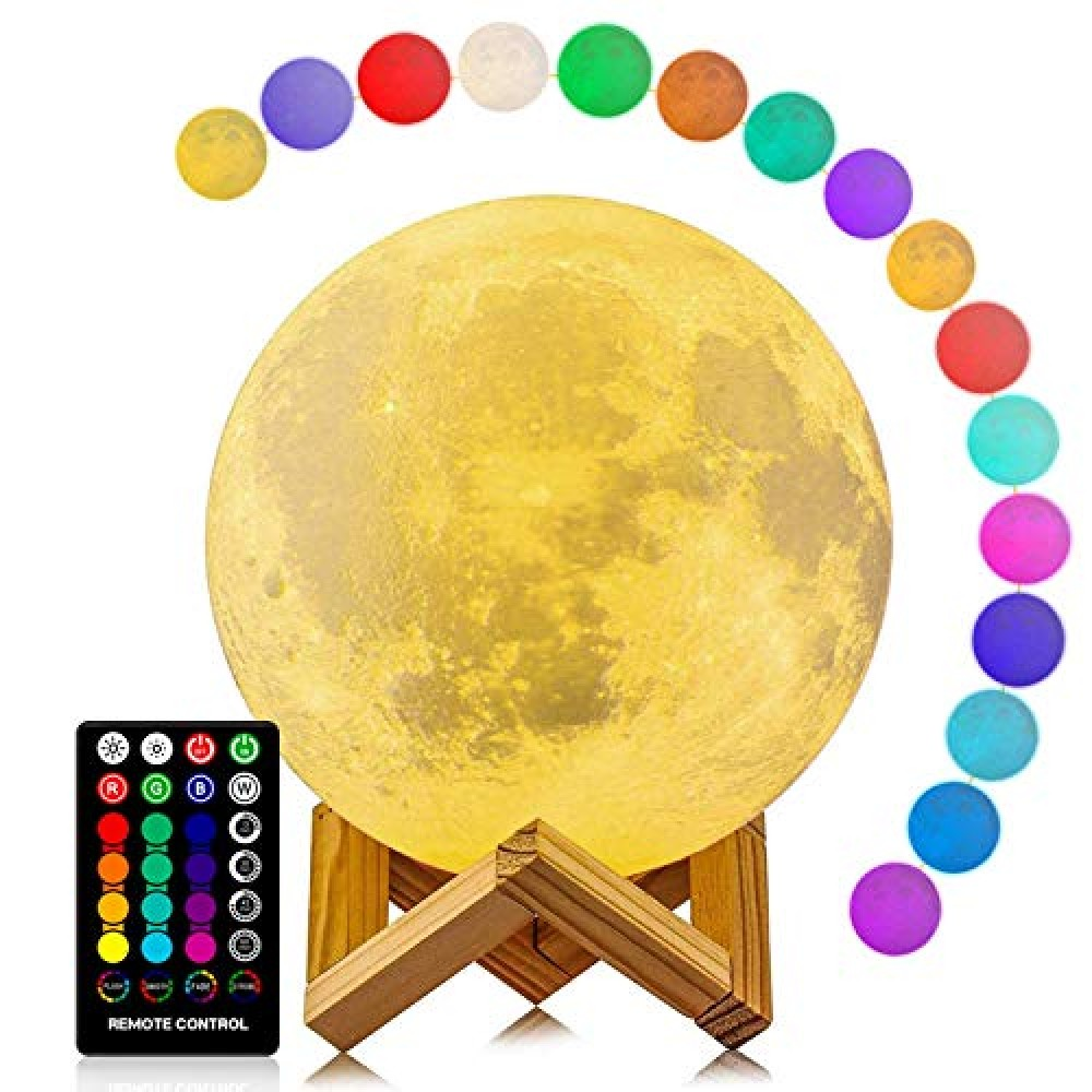 3D Moon Night Lamp 7 Multi Colors Changing Touch Sensor with Wooden Stand Night Lamp Bedroom Lamp Home Decoration Light with Remote Control  15cm