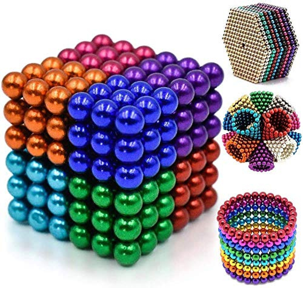 8 Colors Balls for Kids Degree Round Magnetic Stainless Steel Solid Balls for Kids Toy or Home Office Decoration Stress Relief 216 Pcs  Multicolor - 5mm Ball