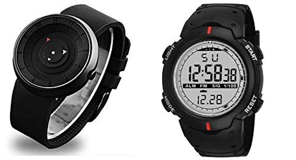 Black dial Analogue and Digital Watch for Men  39 s and Women  39 s  Pack of 2