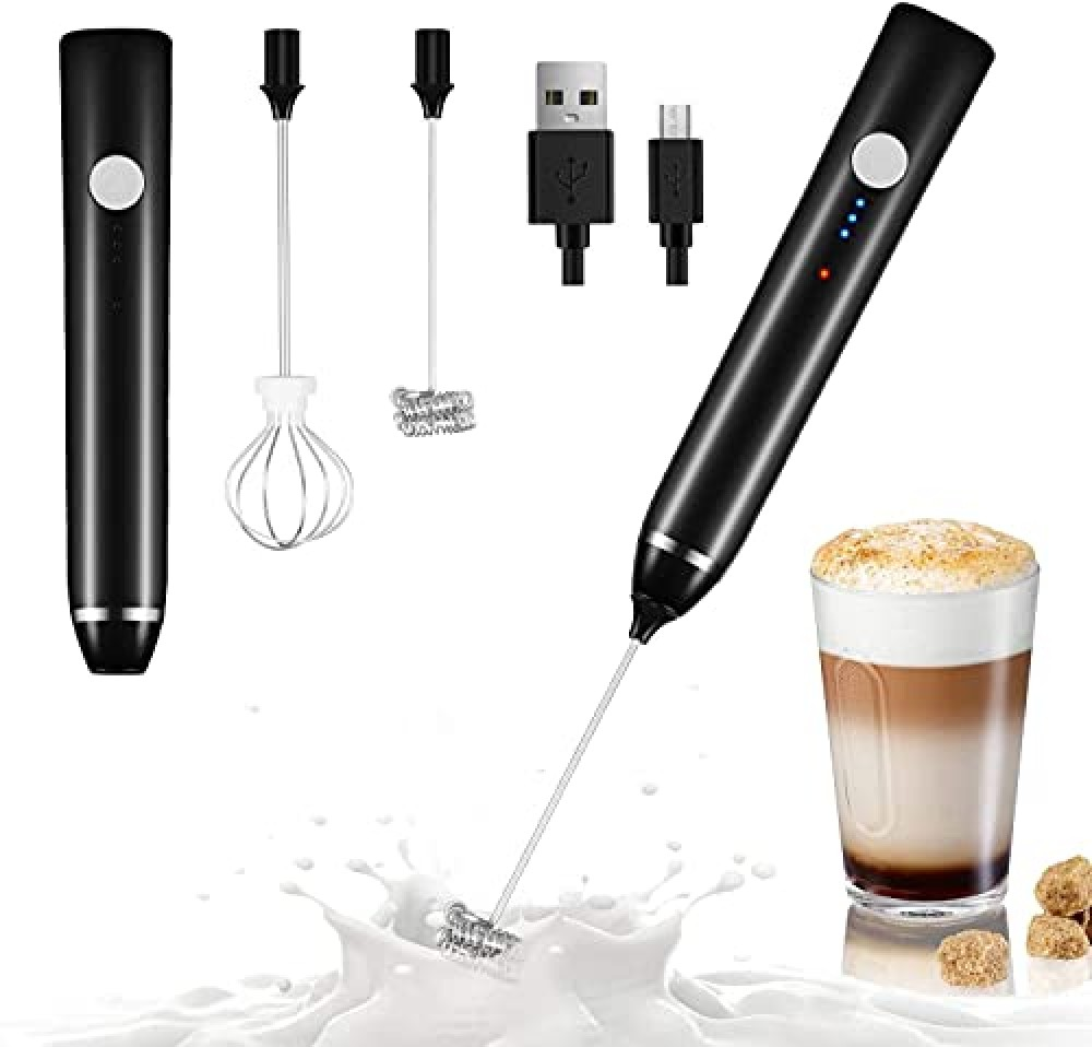 Milk Frother Handheld USB Rechargeable Electric Foam Maker for Coffee  Cappuccino  Egg Mix  2 Whisks for Coffee  Black  17 3 x 3cm