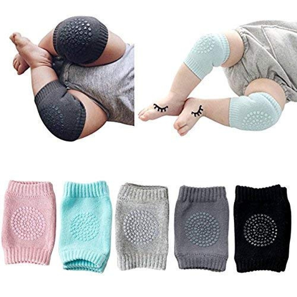 Baby Knee Pads for Crawling  Anti-Slip Padded Stretchable Elastic Cotton Soft Breathable Comfortable Knee Cap Elbow Safety Protector  Set of 2 Pairs  Multi Color