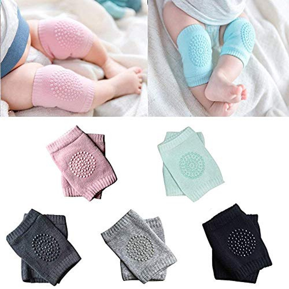 Baby Knee Pads for Crawling  Anti-Slip Padded Stretchable Elastic Cotton Soft Breathable Comfortable Knee Cap Elbow Safety Protector  Set of 2 Pairs  Multi Color   2- Pair