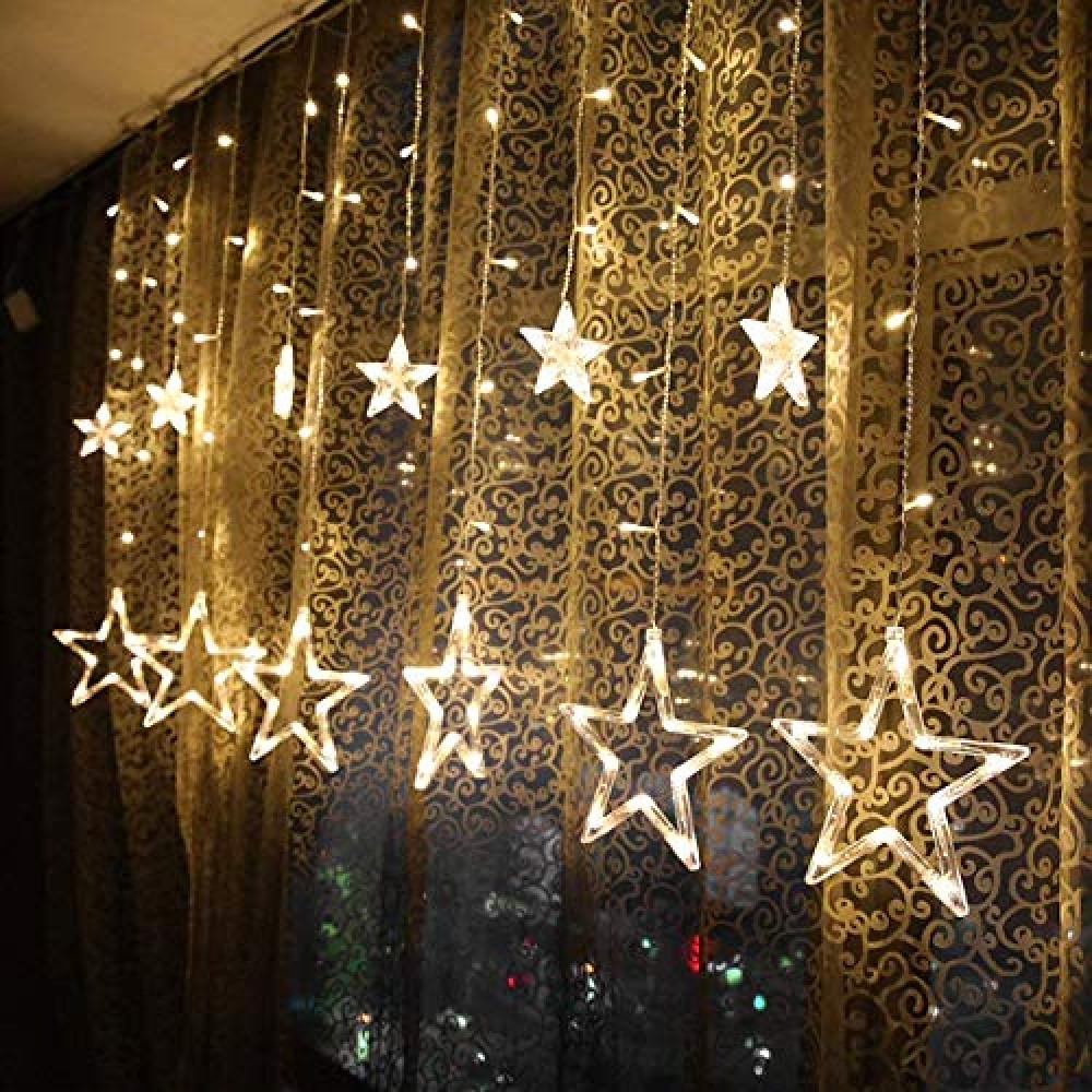 Curtain String Lights  2 5m 12 Stars 138 LED Window Curtain Lights Star Lights with 8 Flashing Modes Diwali Decoration String Lights for Christmas Wedding Party Home Garden  Warm White