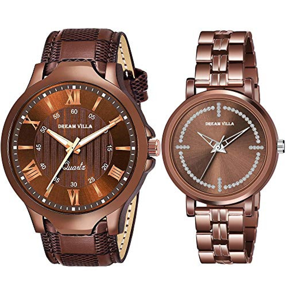 Analog All Brown and Black Leathers Strap and Stainless Steel Casual Watch for Couple Watch