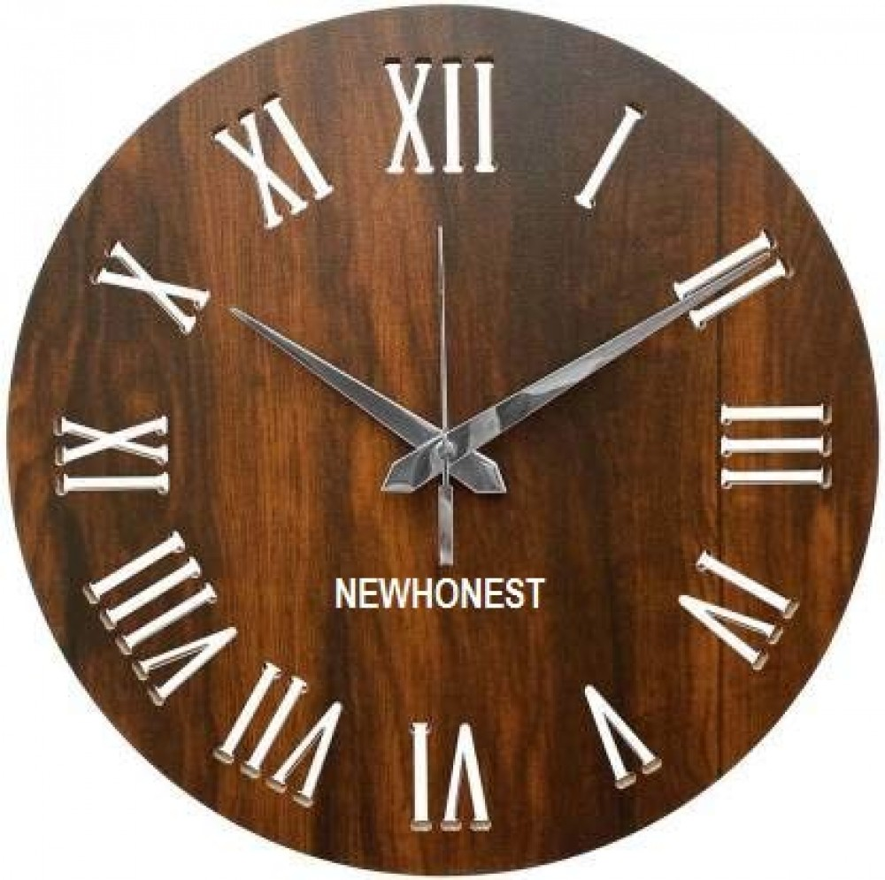 11 Inch Round Shape MDF Wooden Wall Clock with Romman Numerals Silent Wall Clock for Indoor Living Room Bedroom Kitchen Dining Room Decor  Dark Brown