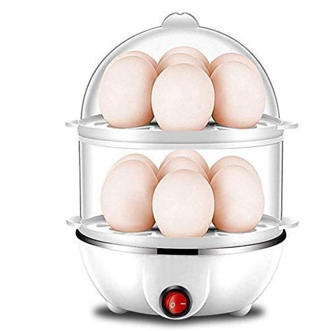 New Double Layer Handle Egg Boiler Electric Automatic Off 14 Egg  Cooking  Boiling and Frying  Multicolour