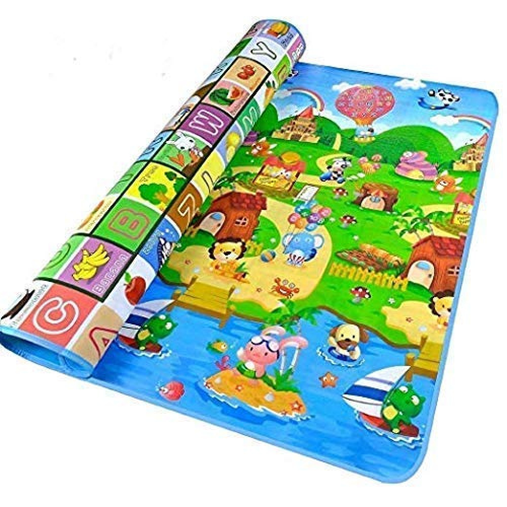 Polyester Waterproof Double Side Baby Play Crawl Floor Mat for Kids  Green  120 X 180 cm