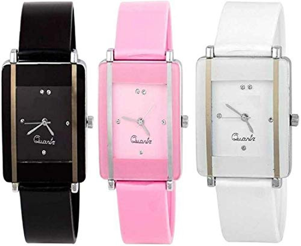 Analogue Girls  39  Watch  Black  White  amp  Pink Dial Assorted Colored Strap   Pack of 3