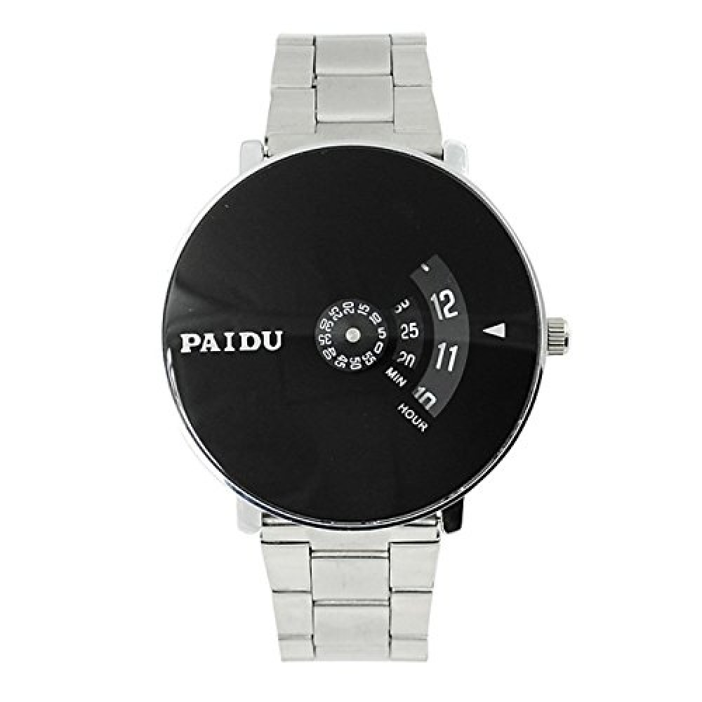 Analogue Men  39 s Watch  Black Dial Silver Colored Strap