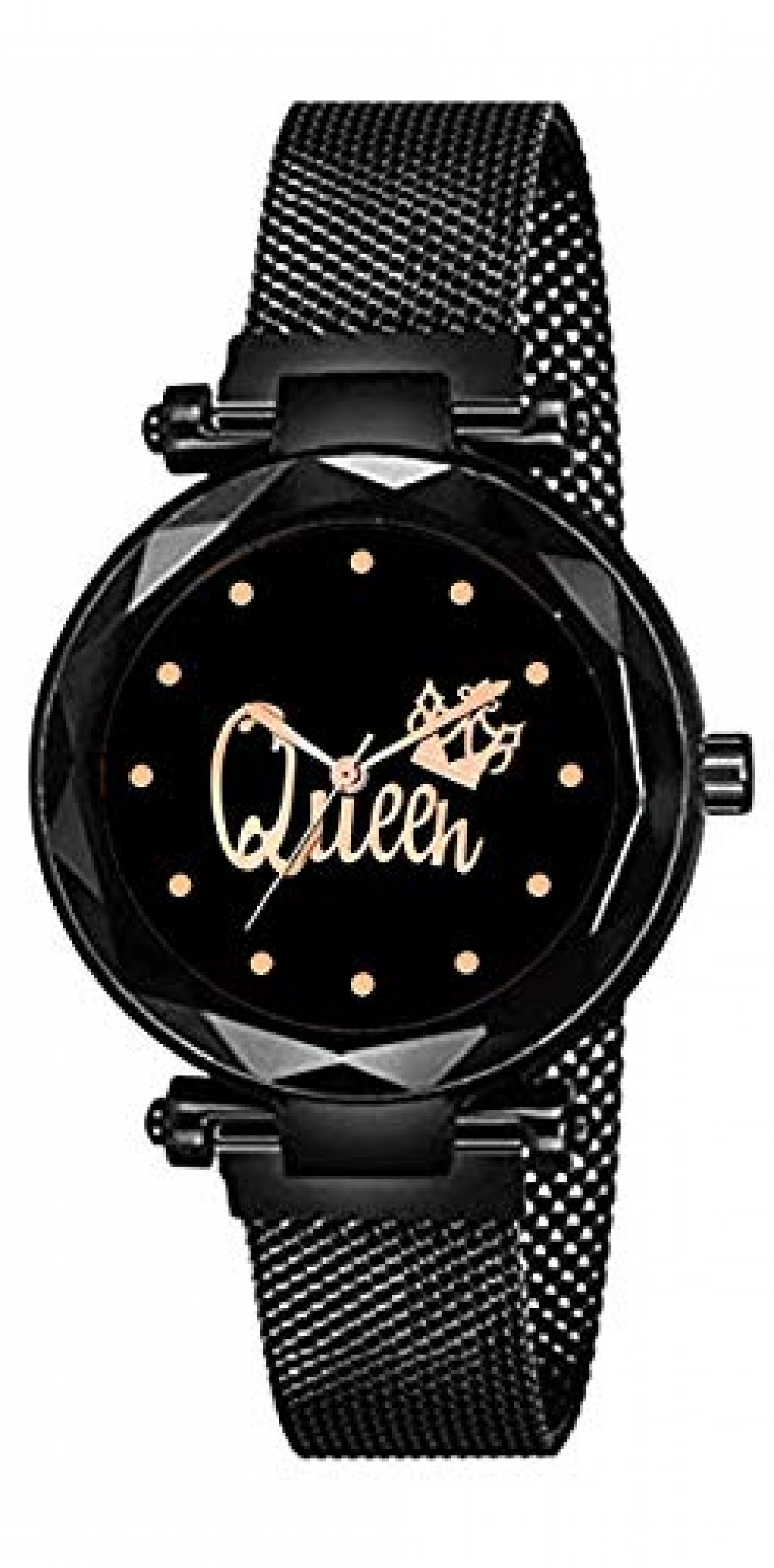 Queen Dial Magnetic Strap Black and Rose Gold Women Watch