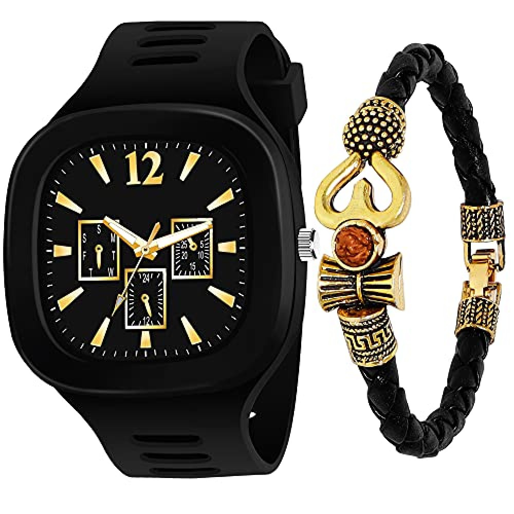 New ADDI Stylish Designers Square Dial and with Leathers Bracelet Analog Silicon Strap Watches for Boy and Men