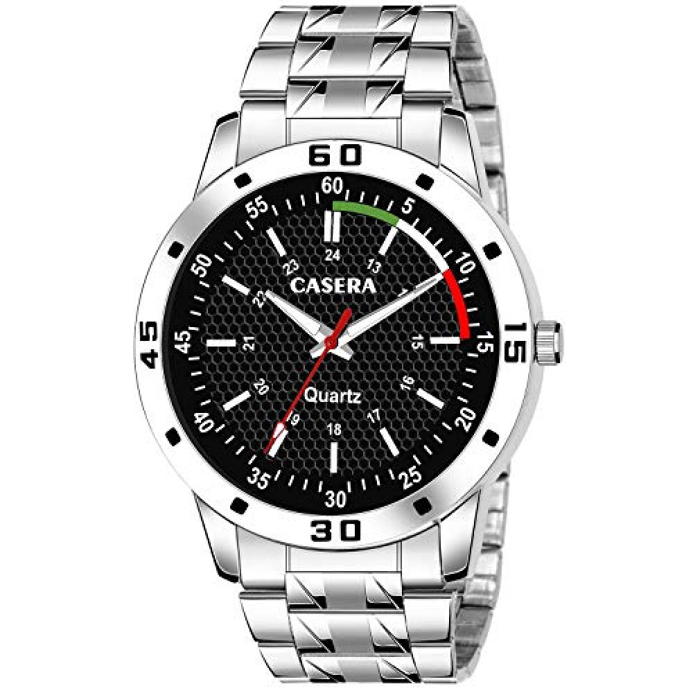 Black Dial Analog Stainless Steel Strap Watch for Men