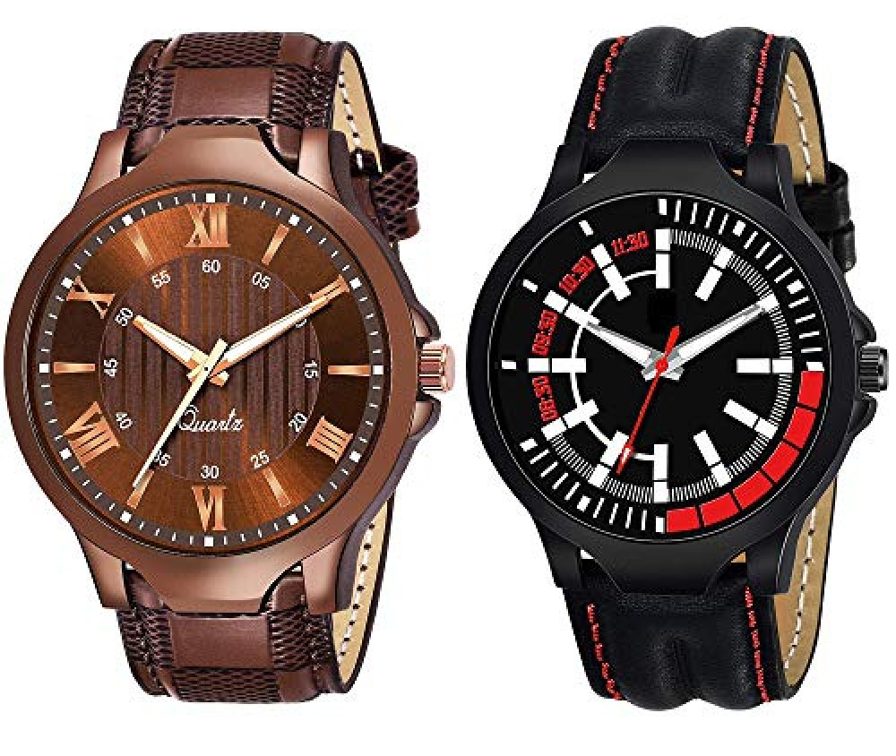 Black-Brown Analog Leather Belt Combo Watch for Boy Watch for Men