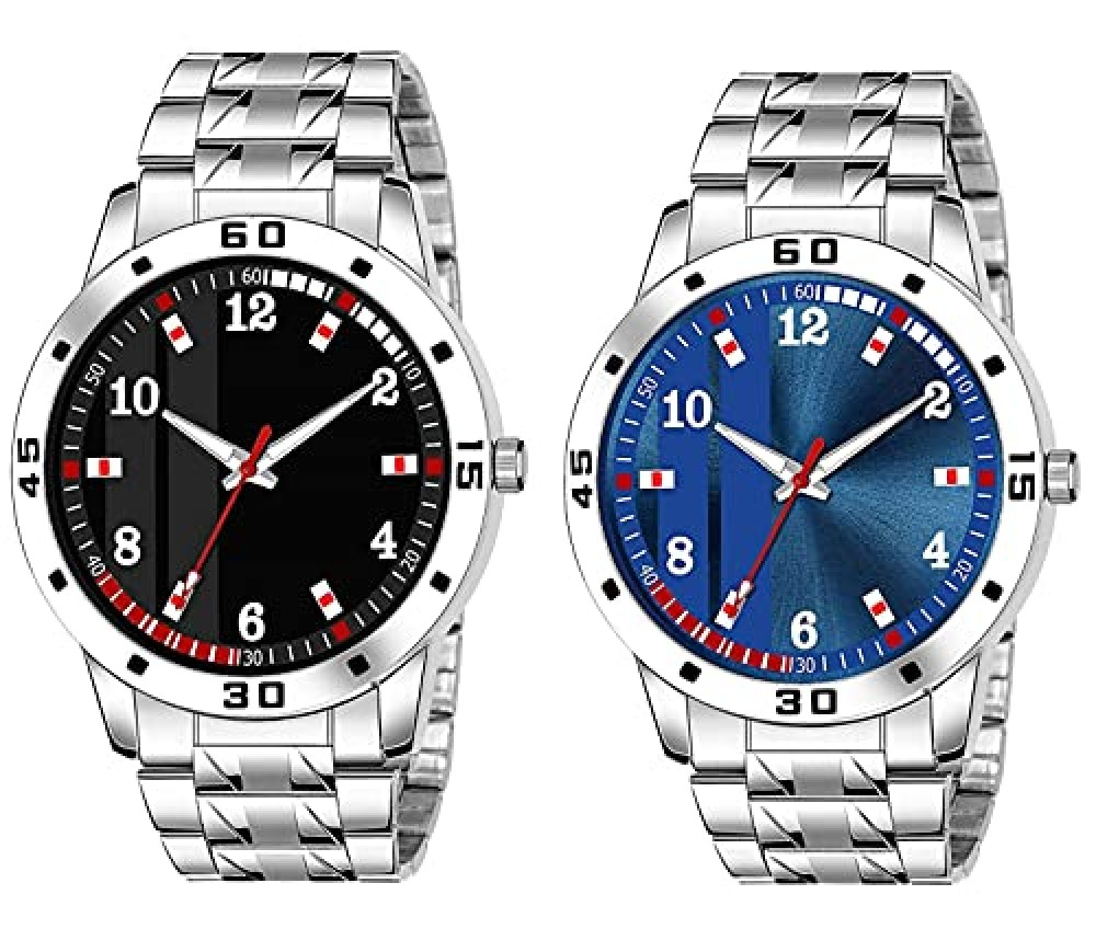 Analog Stainless Steel Silver Strap Combo Watches for Boy and Men Watch