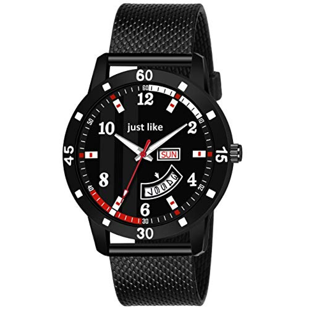 All Black Dial Date and Date Black Rubber Belt Analog Watch for Men  amp  Boy Watch
