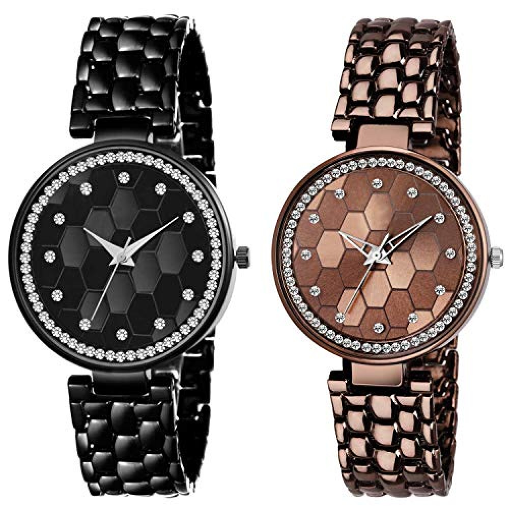 Analog Black and Brown Strap Diamond Case Pack of 2 Combo Watch for Women and Girls