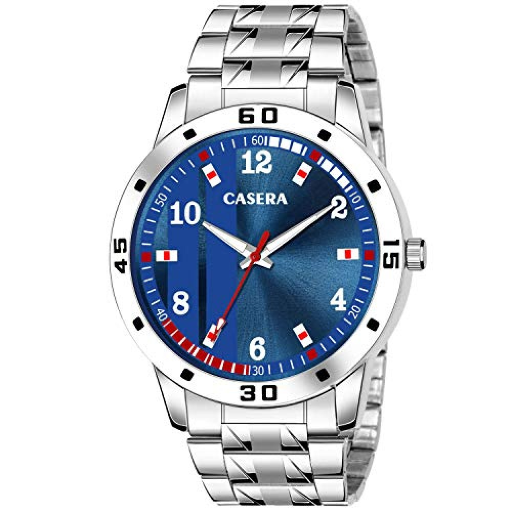 Analog Blue Dial Stainless Steel Strap Watch for Men