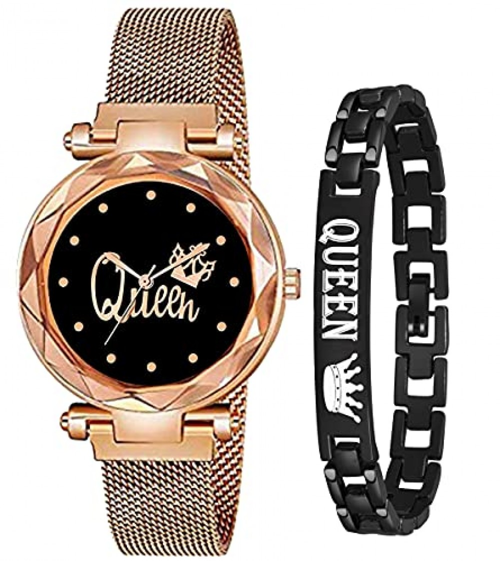 Analog Magnetic Strap and Queen Bracelet Combo Watch for Girls and Women