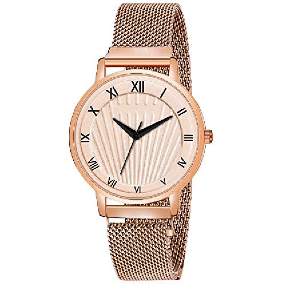 Analog Rose Gold Magnetic Belt Watch for Women and Girls Watch