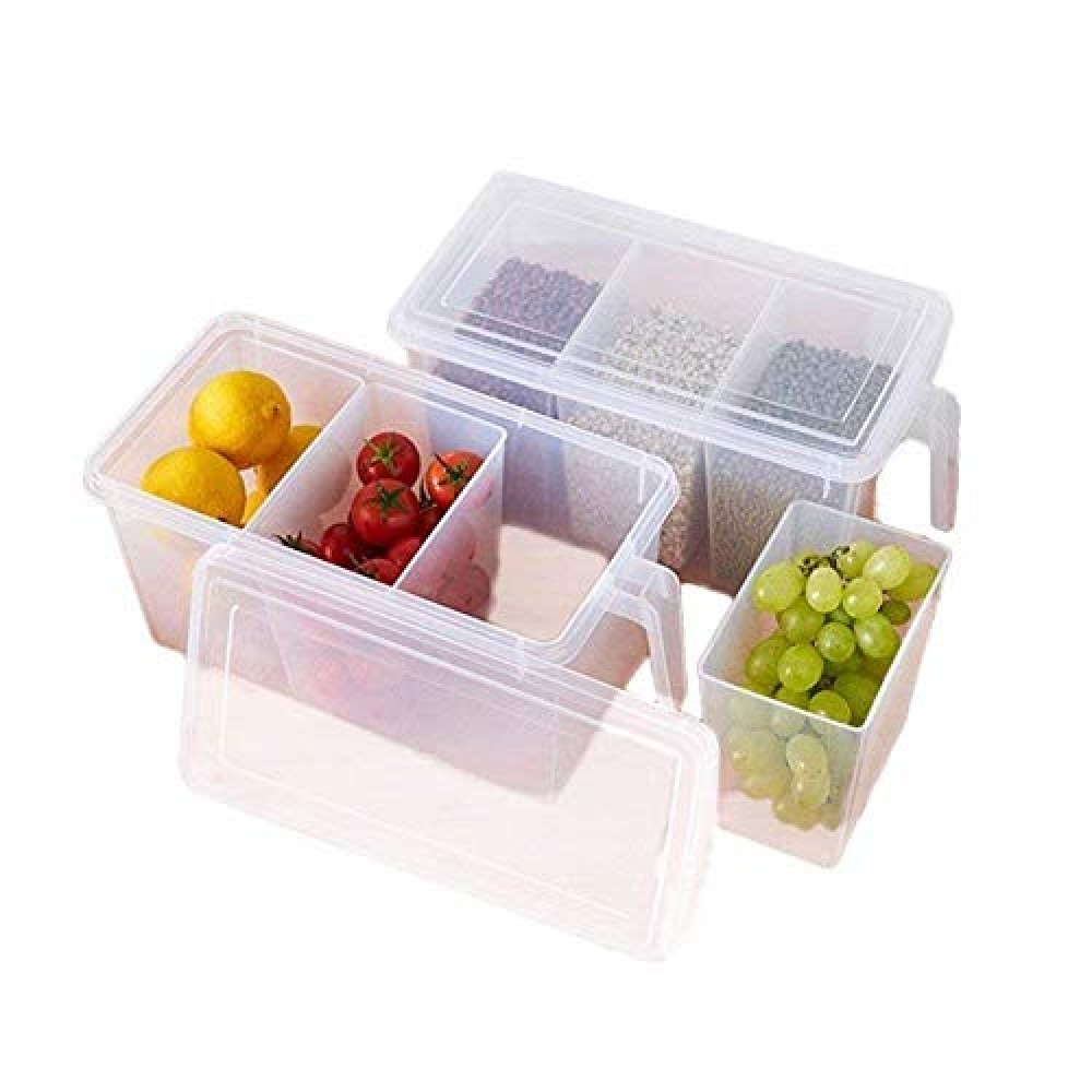 Refrigerator Organizer Container Square Handle Food Storage Organizer Boxes - Clear with Lid  Handle and 3 Smaller Bins - 3 L Plastic Fridge Container  1pcs