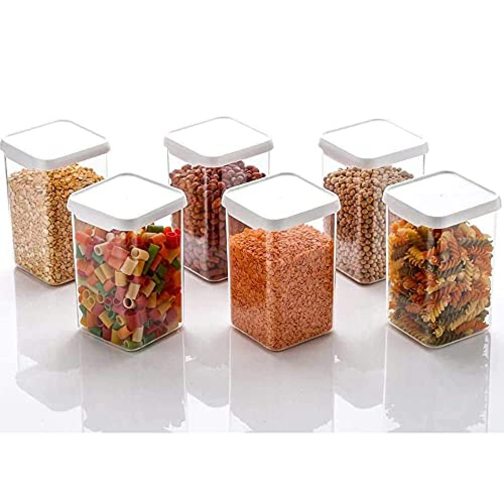 Container Set for Kitchen Airtight Plastic Square Container Set for Kitchen Storage 1100ml Containers Unbreakable  amp  Air-Tight Design  Set of 6