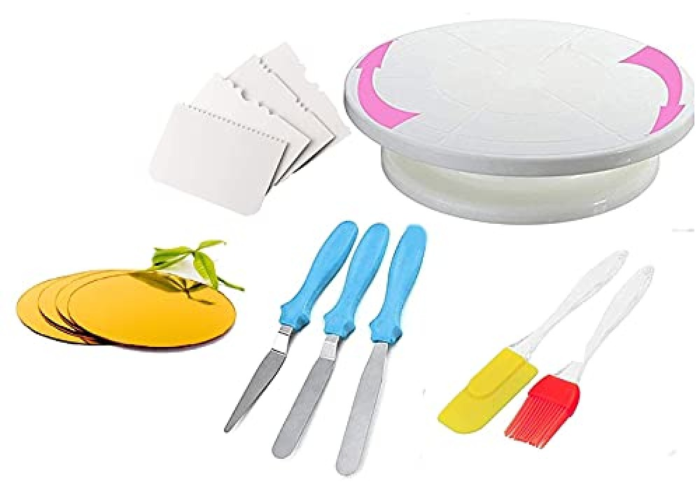 Cake Turntable  3 in 1 Multi Function Knife Set  4 Side Scrapper Cake Board 10 INCH Round MDF 5 Piece