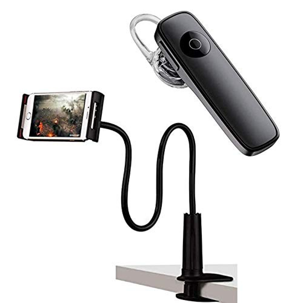 Mini K1 Universal Wireless Bluetooth Earpiece  Smart Call Answering Earphone with Universal Mobile Phone Holder  amp  Tablet Holder with 360   Rotation Lazy Stand for Table Desk