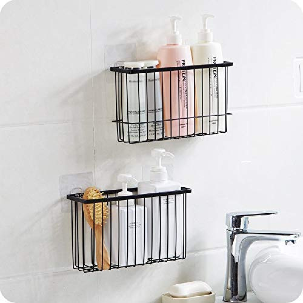 ARLICODECK    Steel Wall Mounted Self Adhesive Bathroom Self Storage Shampoo  Soap  Lotions  Oil and Liquid Conditioner Holder Bath Wall Hanging Basket Without Dill  1 pcs