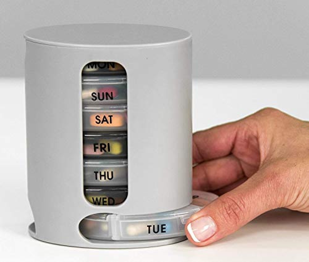 Pill Pro - Tower Pill box organizer with 7 single box and 4 daily compartments Weekly Pharmaceutical Medicine Management Pill Organizer - Assorted  Pack of 1