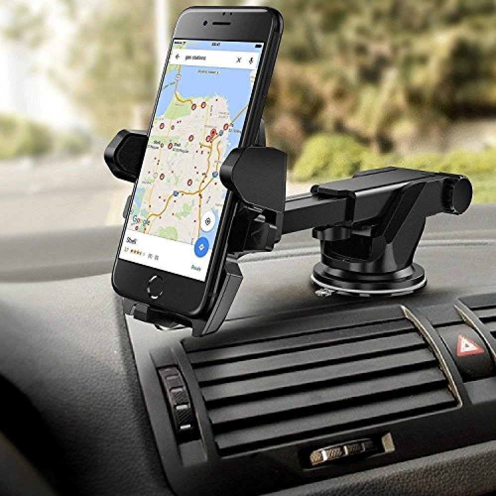 Car Mobile Phone Holder - Telescopic Neck Arm Adjustable Quick Stand Technology 360 Degree Rotation with Ultimate Reusable Suction Cup Mount for Car Dashboard Windshield