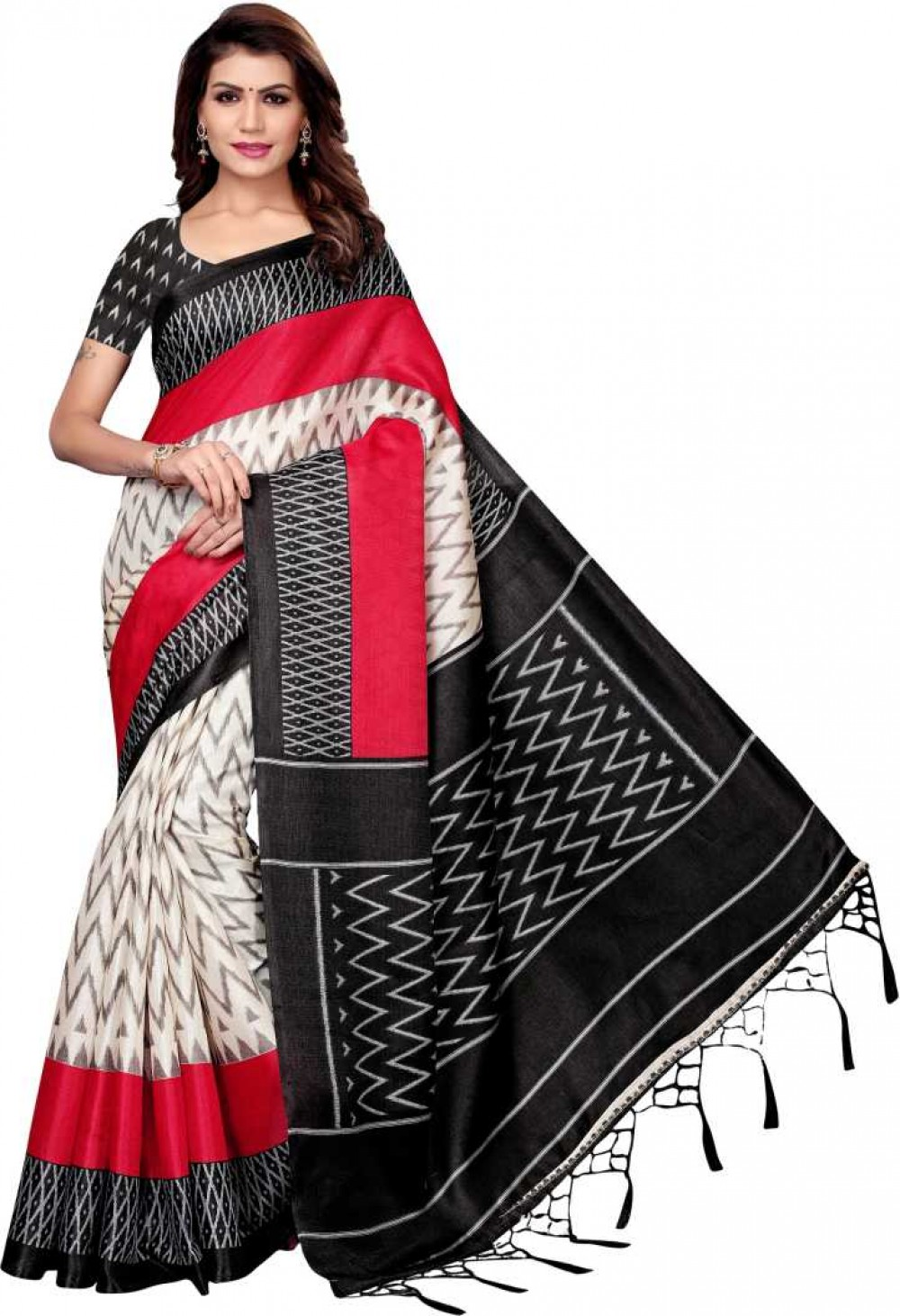 VTTRADE Printed Fashion Cotton Silk Saree with Blouse Material D801