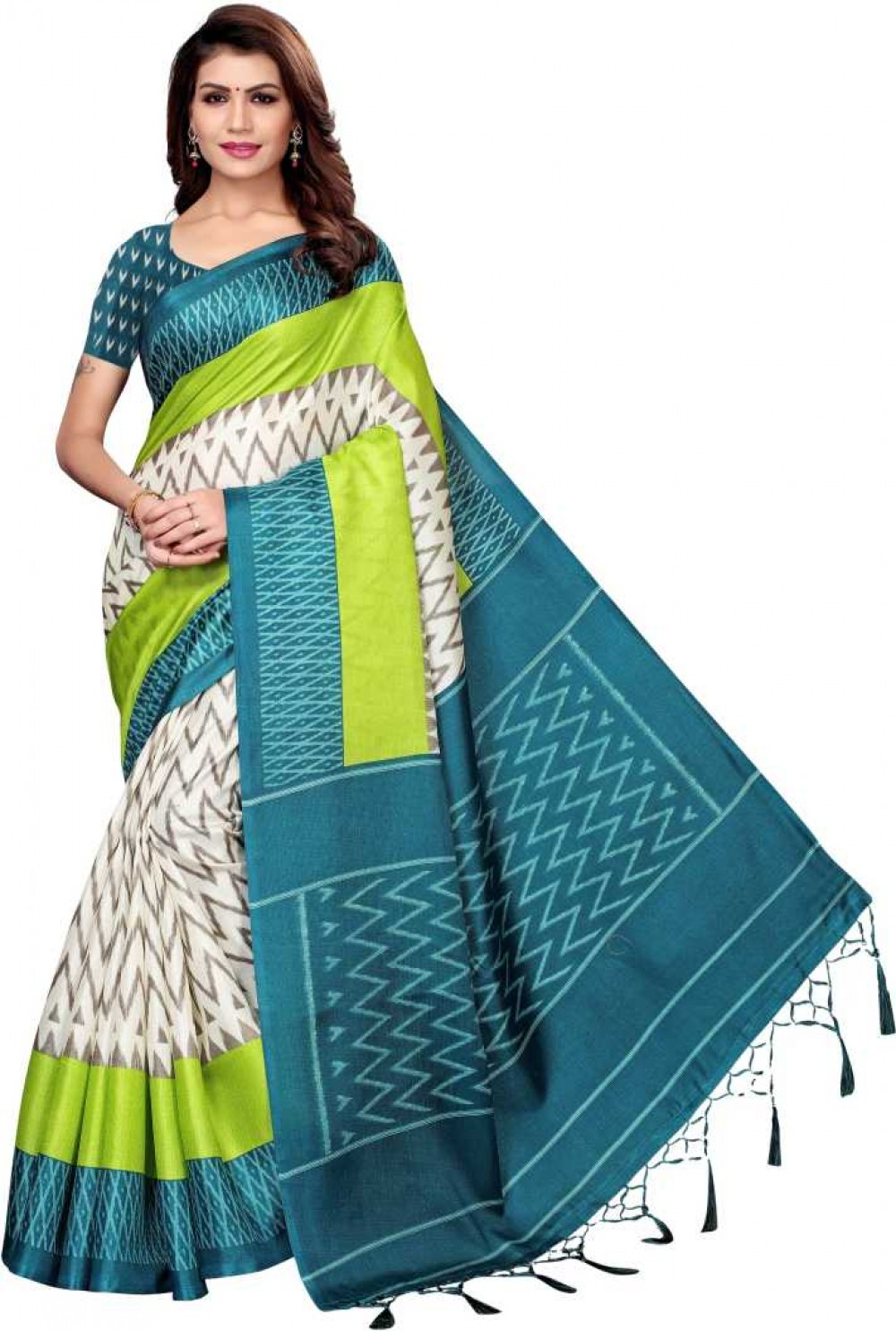 VTTRADE Printed Fashion Cotton Silk Saree with Blouse Material D802