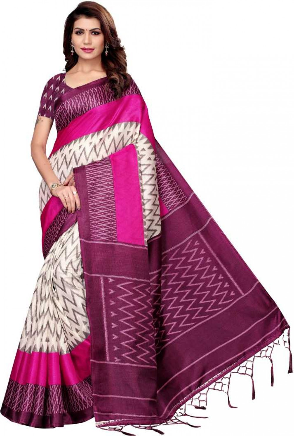 VTTRADE Printed Fashion Cotton Silk Saree with Blouse Material