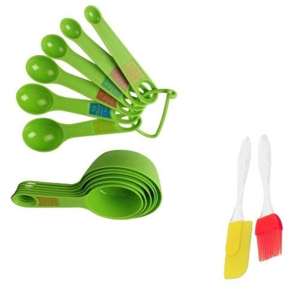 Measuring Cups Spoon Plastic Set with Silicone Series Spatula and Brush Set Combo  Multicolour