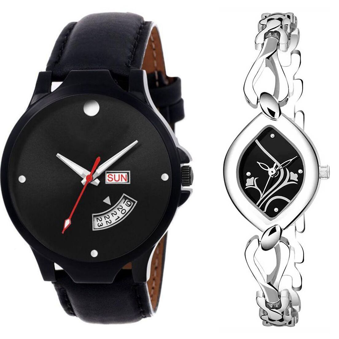 SENJARYA TIMES Black Dial Day & date Fancy Couple Watch For New Lovers DR035